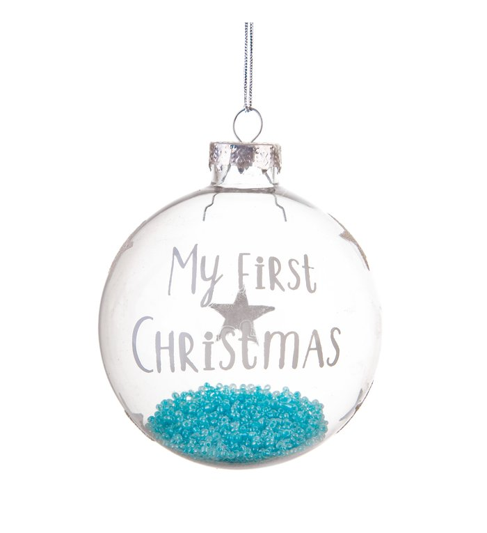 glazen kerstbal baby's eerste kerstmis jongen