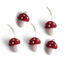 Én Gry & Sif vijf handgemaakte vilten Herfst / Kerst mini paddenstoelen rood met witte stippen - kerstboom decoratie hangertjes