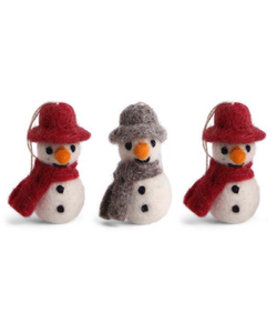 Kerstboomhangers Sneeuwpoppen met Hoed en Sjaal rood en grijs - set van 3