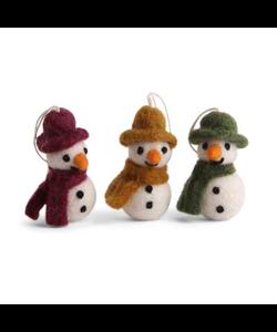 Kerstboomhangers Sneeuwpoppen met Hoed en Sjaal drie kleuren - set van 3