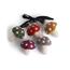 Én Gry & Sif vijf handgemaakte vilten Herfst / Kerst mini paddenstoelen gekleurd met witte stippen - kerstboom decoratie hangertjes