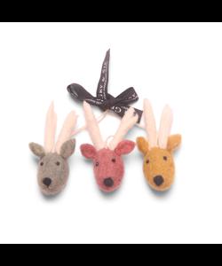 Kerstboomhangers Rendieren drie kleuren - set van 3