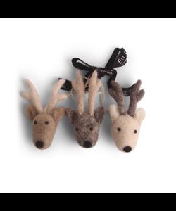 Kerstboomhangers Rendieren bruin en grijs - set van 3