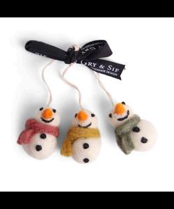 Kerstboomhangers Sneeuwpoppen met Sjaal drie kleuren - set van 3