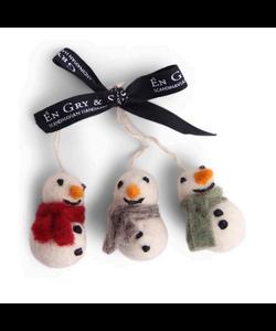Kerstboomhangers Sneeuwpoppen met Sjaal gekleurd - set van 3