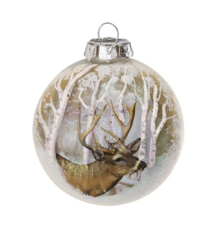 Prachtige glazen kerstbal met hert