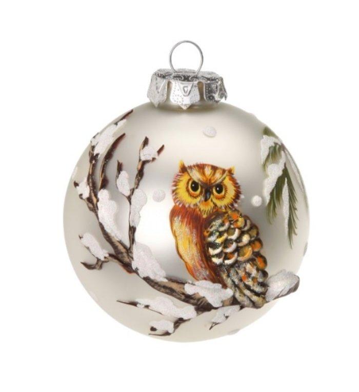 Prachtige glazen kerstbal met uil