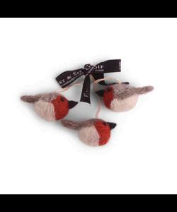 Kerstboomhangers Rode en Grijze Vogeltjes - set van 3