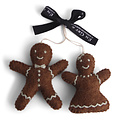 Én Gry & Sif handgemaakte vilten gingerbread boy & girl - kerstboom decoratie hangertjes