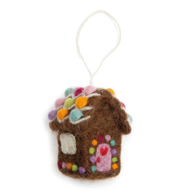 Én Gry & Sif handgemaakte vilten gingerbread huisje - kerstboom decoratie hangertje
