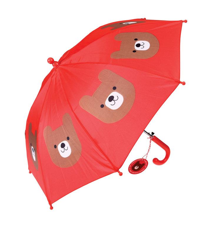 Rex London rode paraplu voor kinderen met bruine beer Bruno