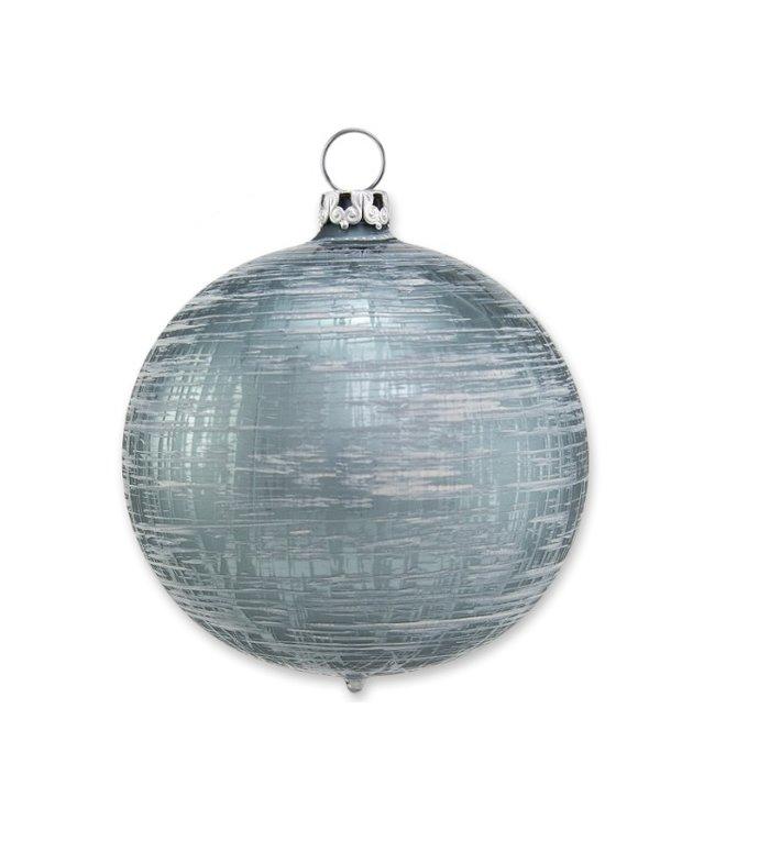 Blauw groene kerstbal met vlekkerig vierkant 8 cm