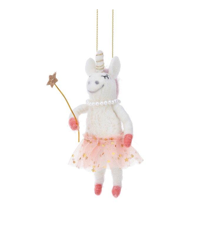 Unicorn fee vilten kerstboom hanger