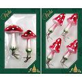 Glazen paddenstoel kerstboomdecoratie op knijper