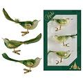 Doosje met drie groene vogeltjes met kerstboomknijper 11 cm