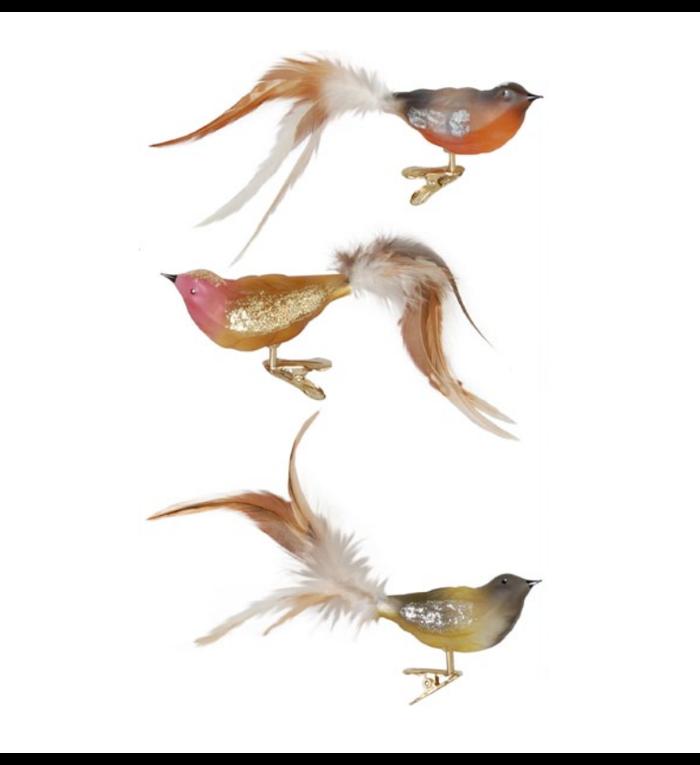 Doosje met drie kerstboom vogeltjes in natuur kleuren met knijper - 11 cm