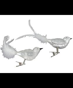 Zilveren Kerstboom Vogeltjes met knijper