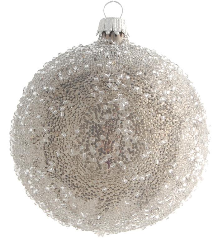 Glazen gesuikerde kerstbal zilver 8 cm