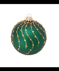 Groene Kerstbal met Gouden Strepen