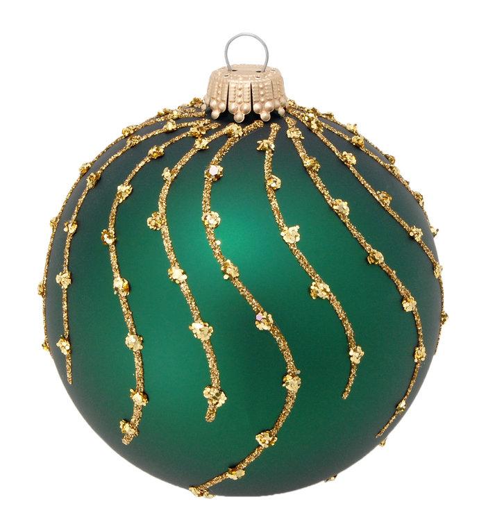 Glazen kerstbal mat groen met gouden glitter strepen 8 cm