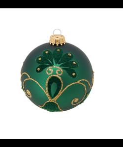 Groene Kerstbal met Fluwelen en Glitter Decoratie