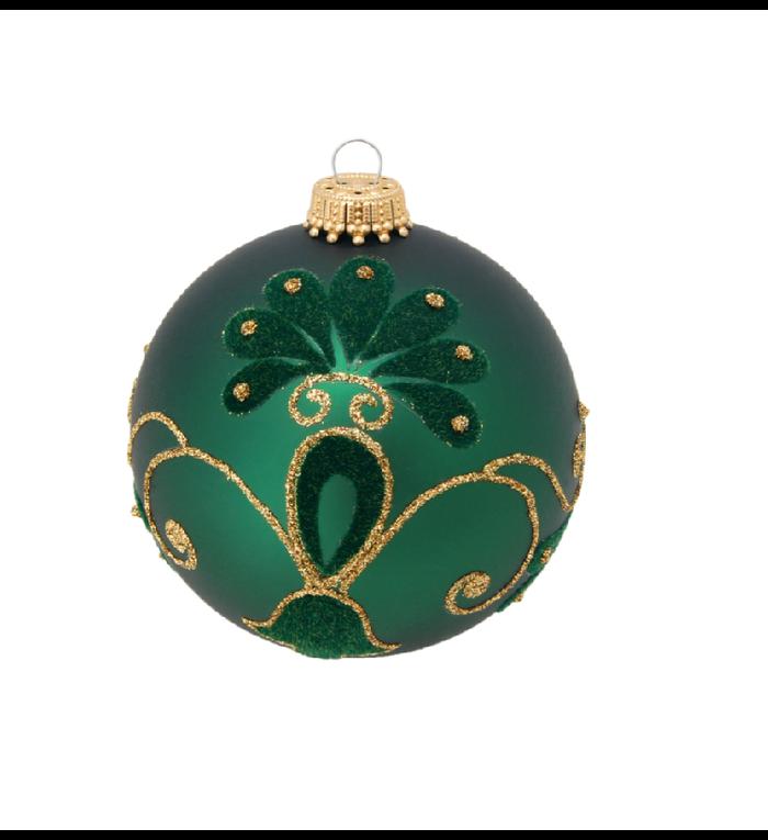 Glazen kerstbal mat groen met fluwelen decoratie en gouden glitters 8 cm