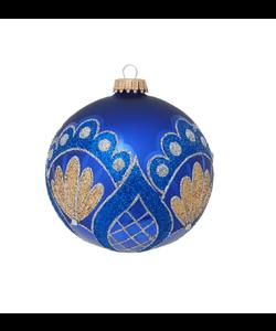 Blauwe Kerstbal met Gouden en Blauwe Glitters
