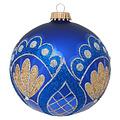 Glazen kerstbal blauw met gouden en blauwe glitter decoratie 8 cm