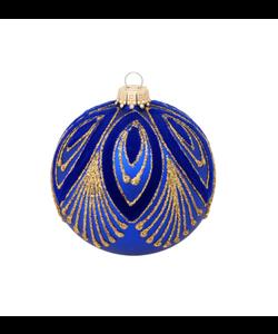 Blauwe Kerstbal met Chique Goud Design