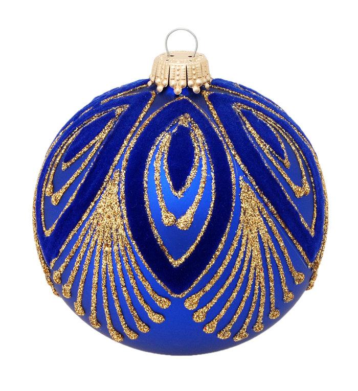 Glazen kerstbal blauw met chique goud design 8 cm