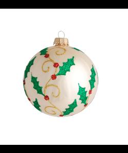 Kerstbal Ivoor met Glitter Hulst