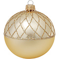 Glazen kerstbal goud met chique goud design 8 cm