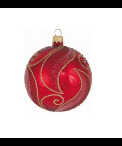 Rode Kerstbal met Chique Goud Design