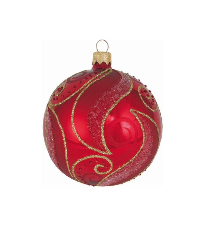 Glazen kerstbal rood met chique goud design 8 cm