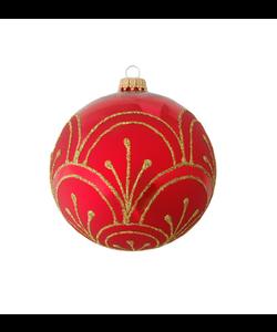 Rode Kerstbal met Gouden Lijnen