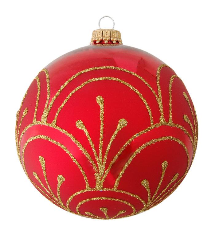 Glazen kerstbal rood met gouden glitter lijnen 8 cm