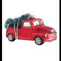 Kerstboomhanger vintage pick-up auto met kerstboom 8 cm