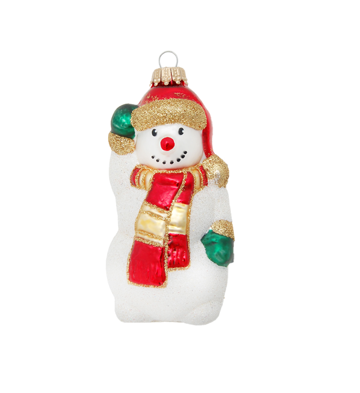 Glazen Frosty The Snowman kerstboom figuur - 12 cm