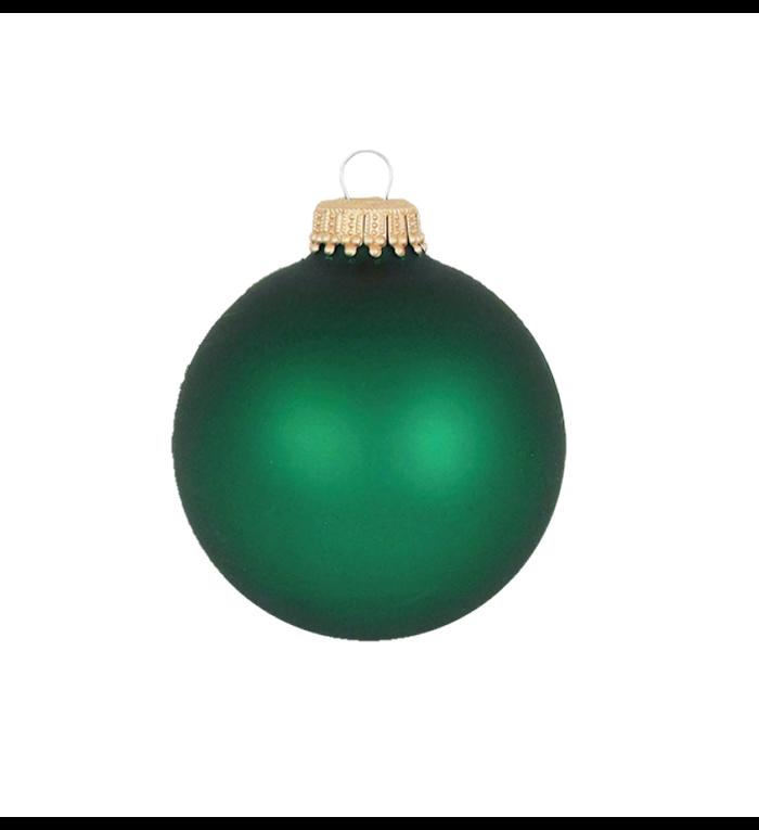 Glazen matte groene kerstballen effen 7 cm - met gouden kroontje