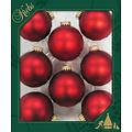 Glazen matte rode kerstballen effen 7 cm - met gouden kroontje
