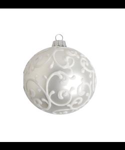 Kerstbal Zilver Mat met Wit Fluweel Design