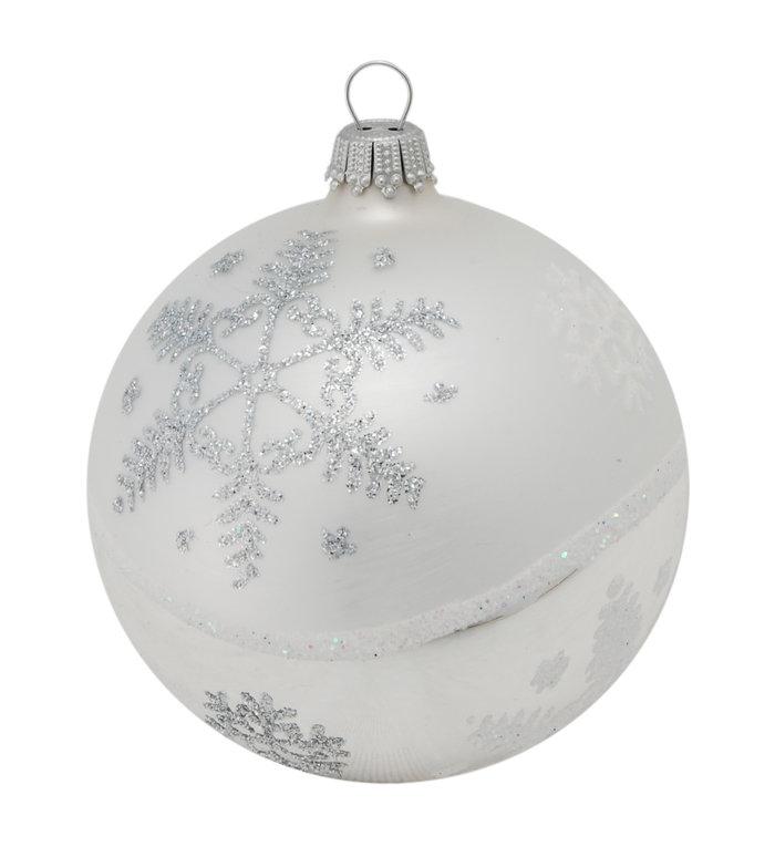 Glazen zilveren kerstbal met ijssterren 8 cm