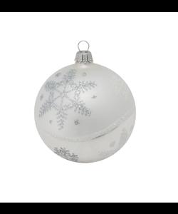Kerstbal Zilver met ijssterren