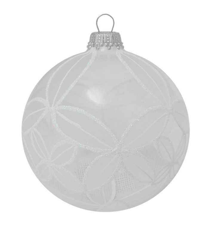 Glazen kerstbal transparant met chique wit design 8 cm
