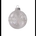 Glazen transparante kerstballen met grote witte sneeuwvlokken 7 cm