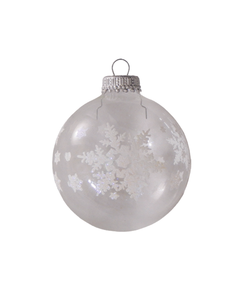 Kerstballen Transparant met Grote Witte Sneeuwvlokken