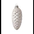 Set van 3 - Glazen zilveren dennenappels voor in de kerstboom - 10 cm