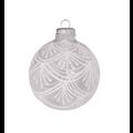 Glazen transparante kerstballen met chique witte decoratie 7 cm