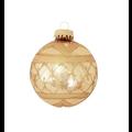Glazen gouden kerstballen met gouden glitterband 7 cm