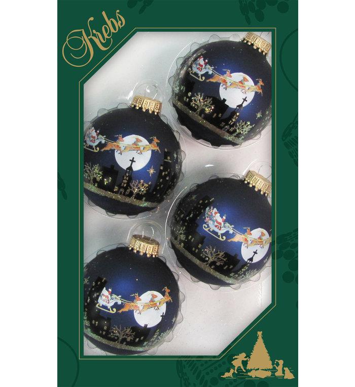 Glazen donkerblauwe kerstballen met kerstman in arrenslee 7 cm